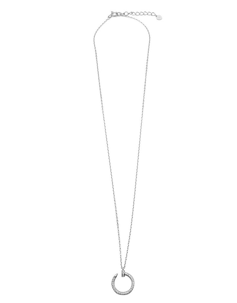 Qualita In Argento Italian Sterling Silver Cubic Zirconia Nail Necklace