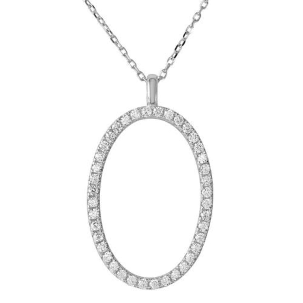 Sterling Silver Oval Cubic Zirconia Necklace