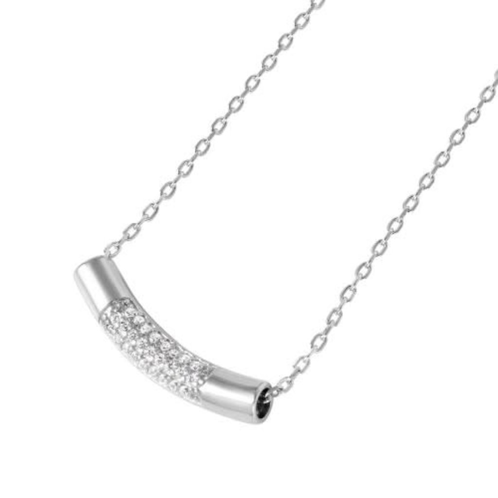 Sterling Silver Micropave Cubic Zirconia Half Smile Necklace