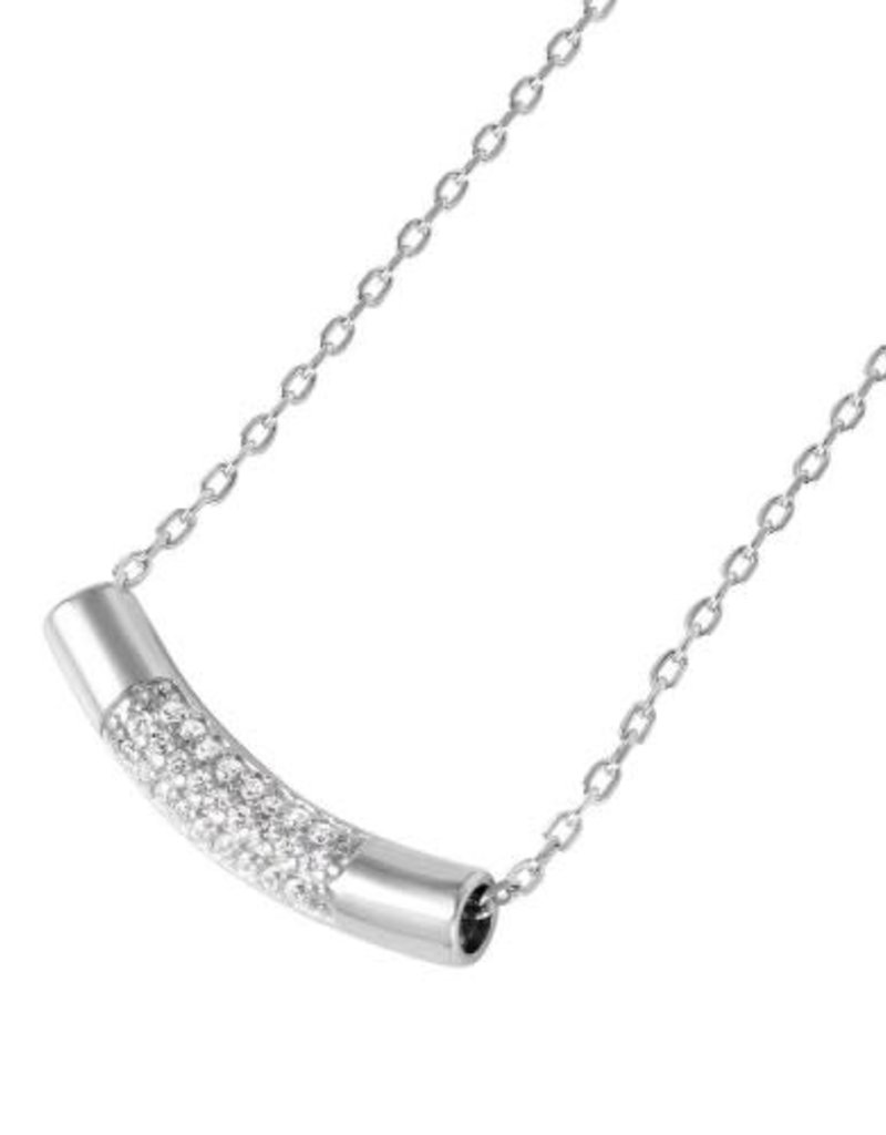 Qualita In Argento Italian Sterling Silver Micropave Cubic Zirconia Half Smile Necklace