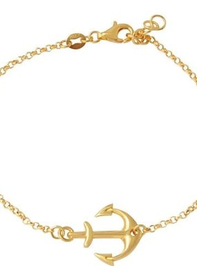 Qualita In Argento Sterling Gold Anchor Bracelet