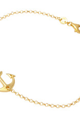 Qualita In Argento Italian Sterling Gold Anchor Bracelet