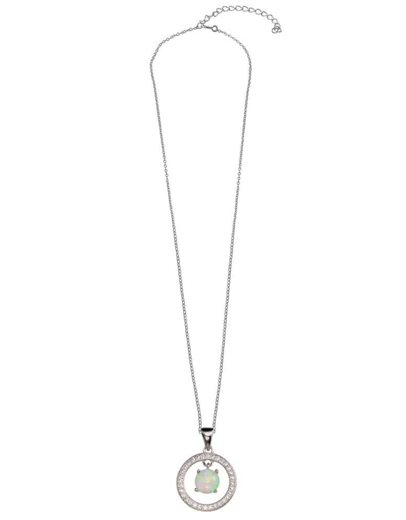 Qualita In Argento Italian Sterling Opal Halo Necklace