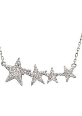 Qualita In Argento Italian Sterling Silver Cubic Zirconia Star Necklace