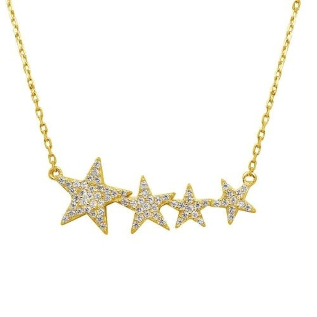 Sterling Gold Cubic Zirconia Star Necklace