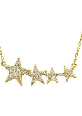 Qualita In Argento Italian Sterling Gold Cubic Zirconia Star Necklace