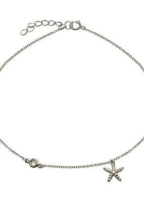 Qualita In Argento Sterling Silver Cubic Zirconia Starfish Anklet