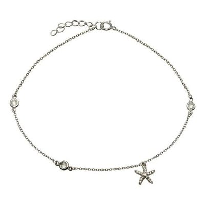 Sterling Silver Cubic Zirconia Starfish Anklet