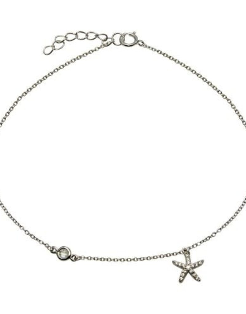 Qualita In Argento Italian Sterling Silver Cubic Zirconia Starfish Anklet