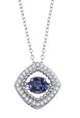 Qualita In Argento Italian Sterling Silver Square Dancing Sapphire CZ Necklace