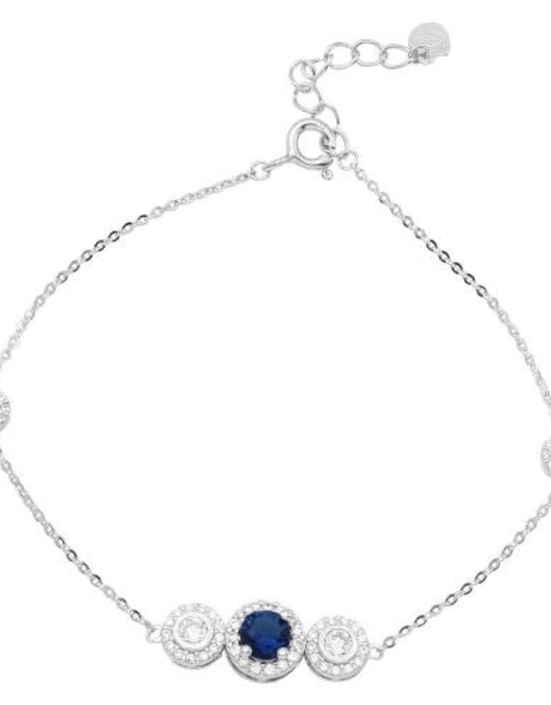 Qualita In Argento Italian Sterling Silver Sapphire Cubic Zirconia Bracelet