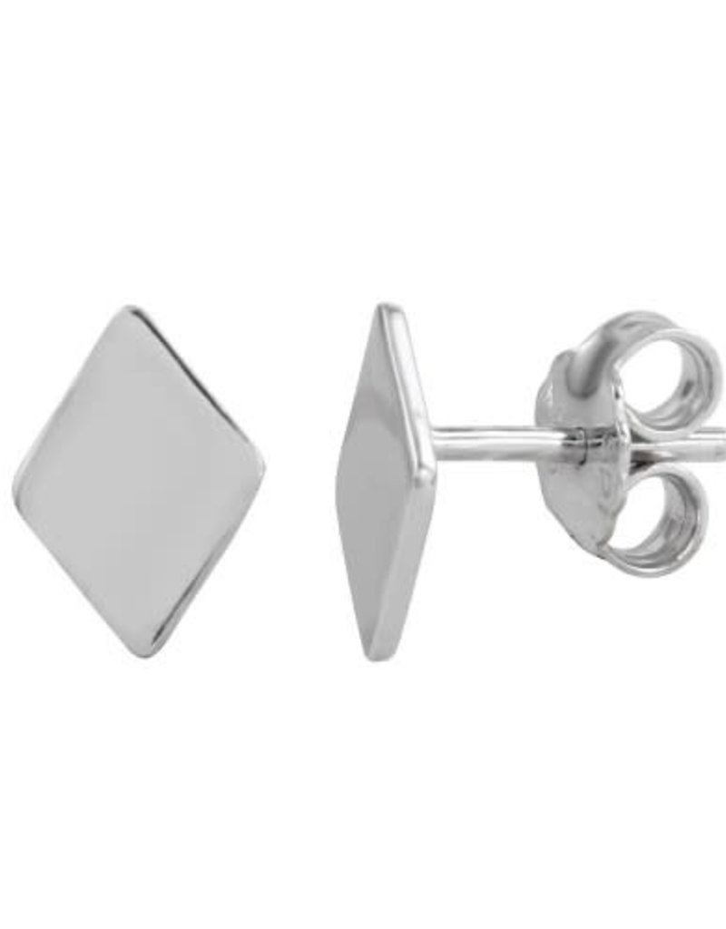 Qualita In Argento Italian Sterling Silver Rhombus Studs