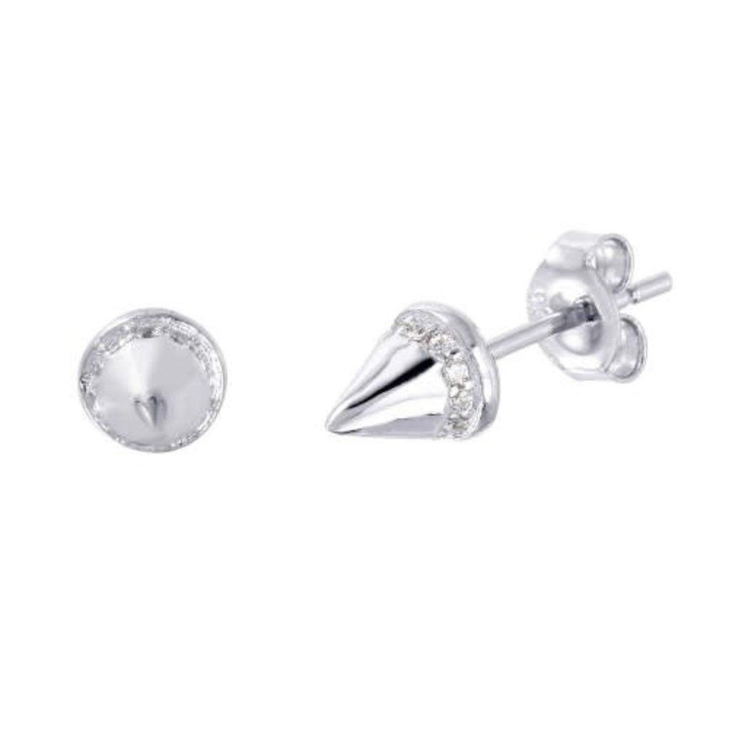 Sterling Silver CZ Spike Stud Earring