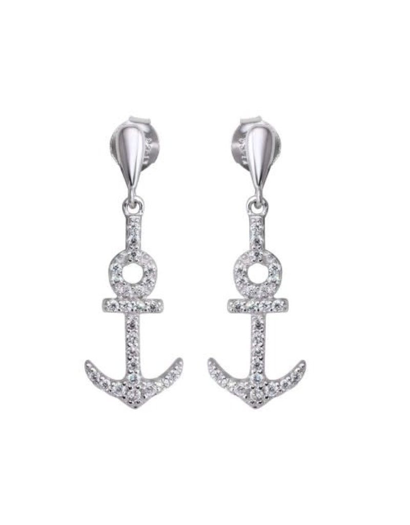 Sterling Silver CZ Anchor Dangle Earrings