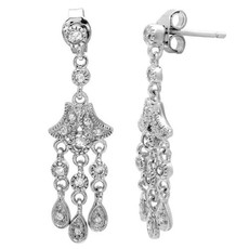 Sterling Silver Three Strand CZ Dangle Earring