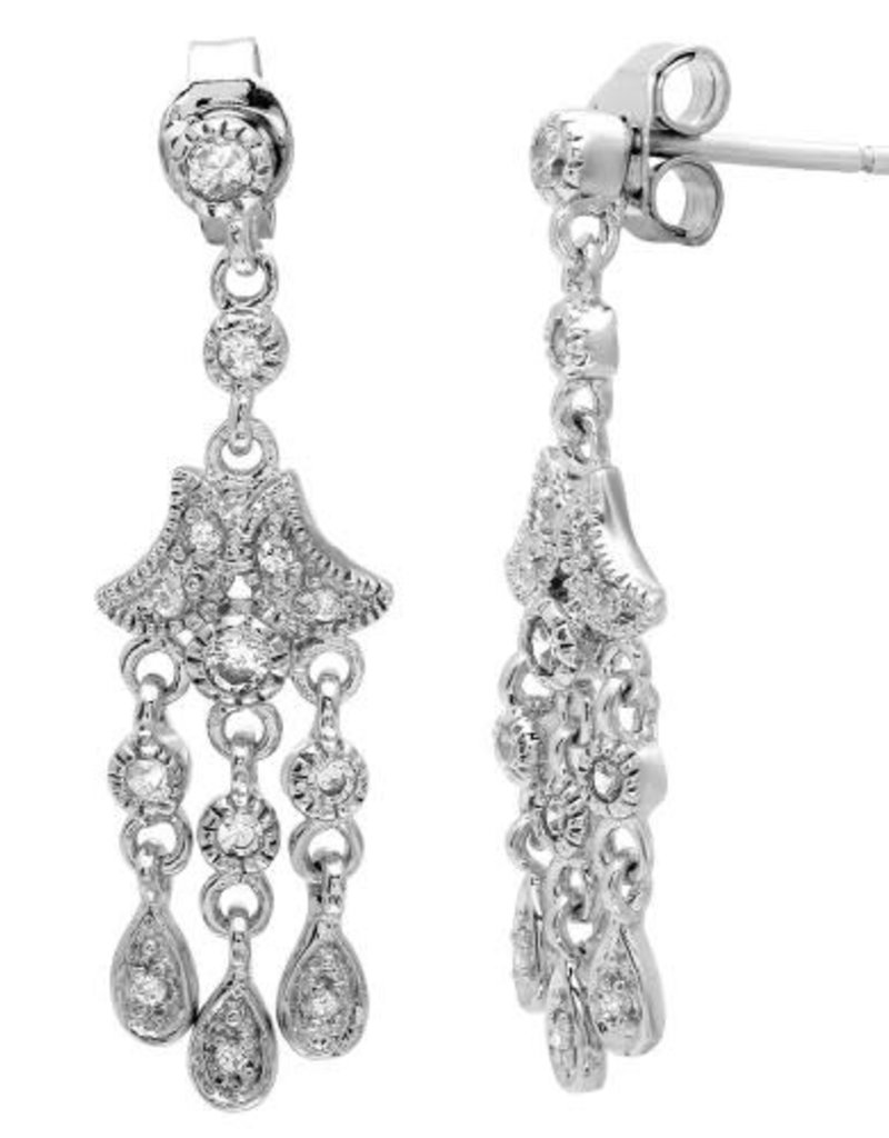 Qualita In Argento Italian Sterling Silver Three Strand CZ Dangle Earring