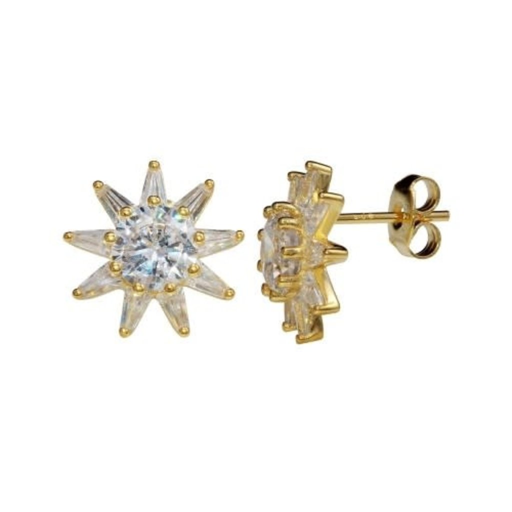 Sterling Silver Gold Plated CZ Star Studs