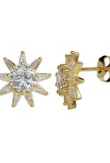 Qualita In Argento Italian Sterling Silver Gold Plated CZ Star Studs