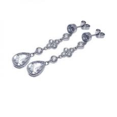 Sterling Silver Teardrop CZ Earrings