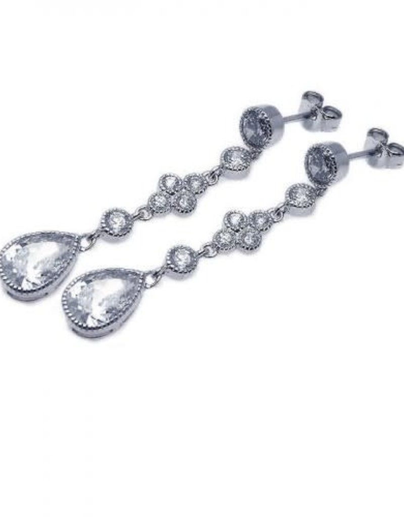 Qualita In Argento Italian Sterling Silver Teardrop CZ Earrings