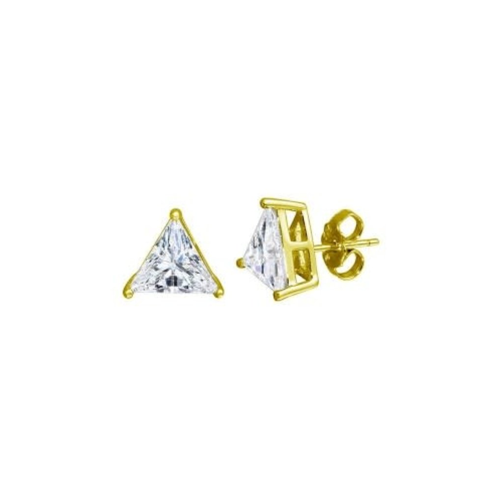 Sterling Silver Gold Plated Triangle CZ Studs
