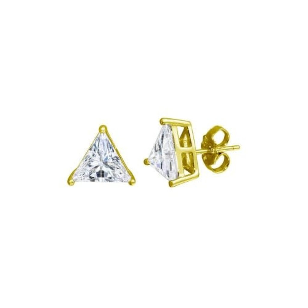 Sterling Silver Gold Plated Large Triangle CZ Studs