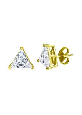 Qualita In Argento Sterling Silver Gold Plated Large Triangle CZ Studs