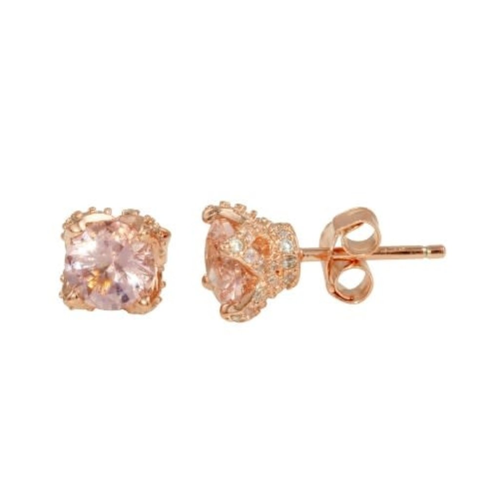 Sterling Rose Gold Plated CZ Studs