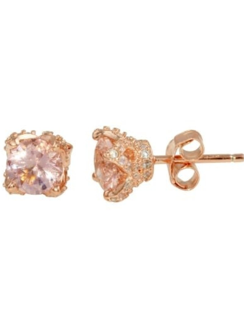 Qualita In Argento Italian Sterling Rose Gold Plated CZ Studs