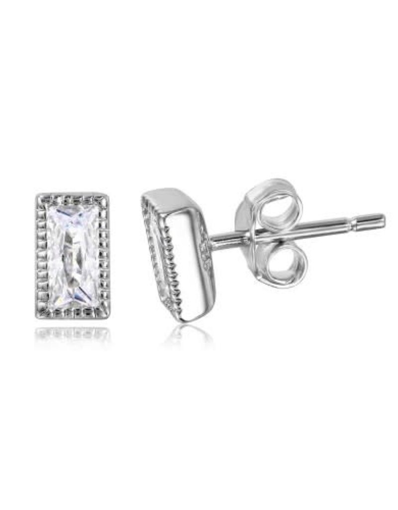 Qualita In Argento Italian Sterling Silver Rectangle CZ Studs