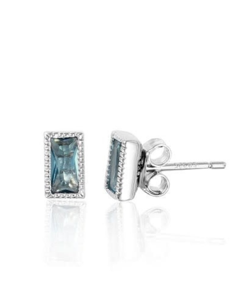 Qualita In Argento Italian Sterling Silver Rectangle Blue CZ Studs