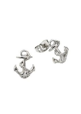 Qualita In Argento Sterling Silver Anchor Studs