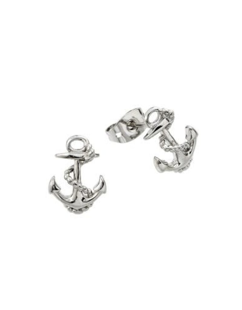 Qualita In Argento Italian Sterling Silver Anchor Studs