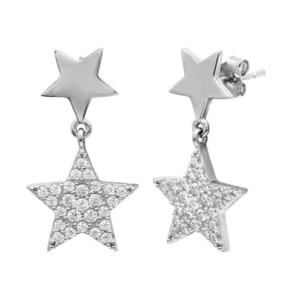 Sterling Silver Double Star Drop CZ Studs