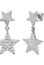 Qualita In Argento Italian Sterling Silver Double Star Drop CZ Studs