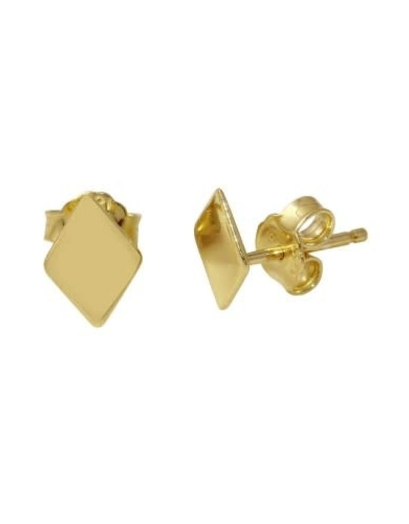 Qualita In Argento Italian Sterling Gold Plated Rhombus Studs