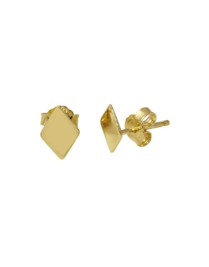 Sterling Gold Plated Rhombus Studs