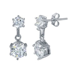 Sterling Silver Double Circle Drop CZ Studs