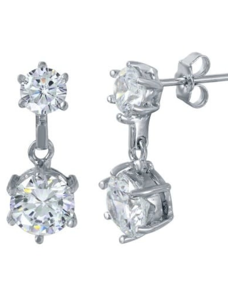 Qualita In Argento Italian Sterling Silver Double Circle Drop CZ Studs