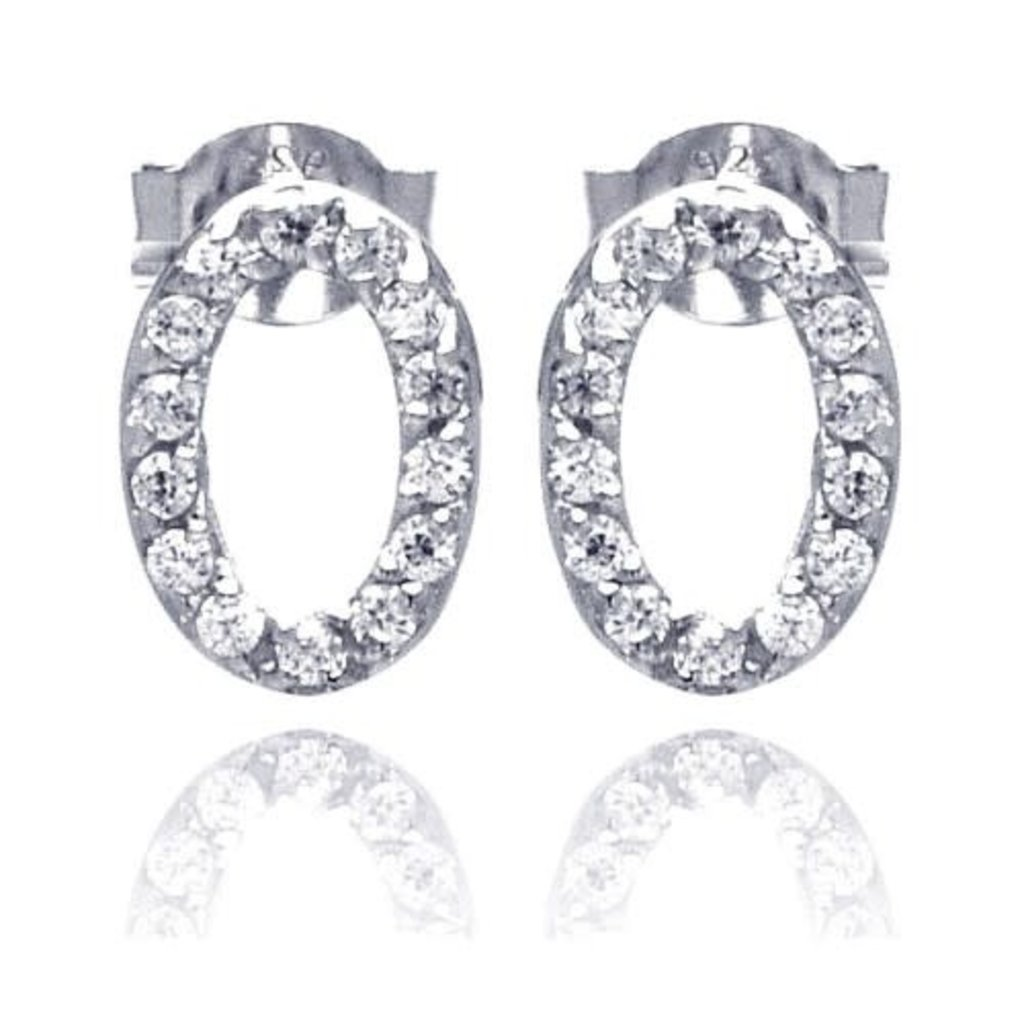 Sterling Silver Open Oval CZ Studs