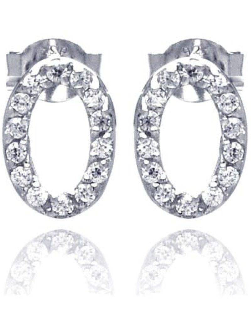 Qualita In Argento Italian Sterling Silver Open Oval CZ Studs