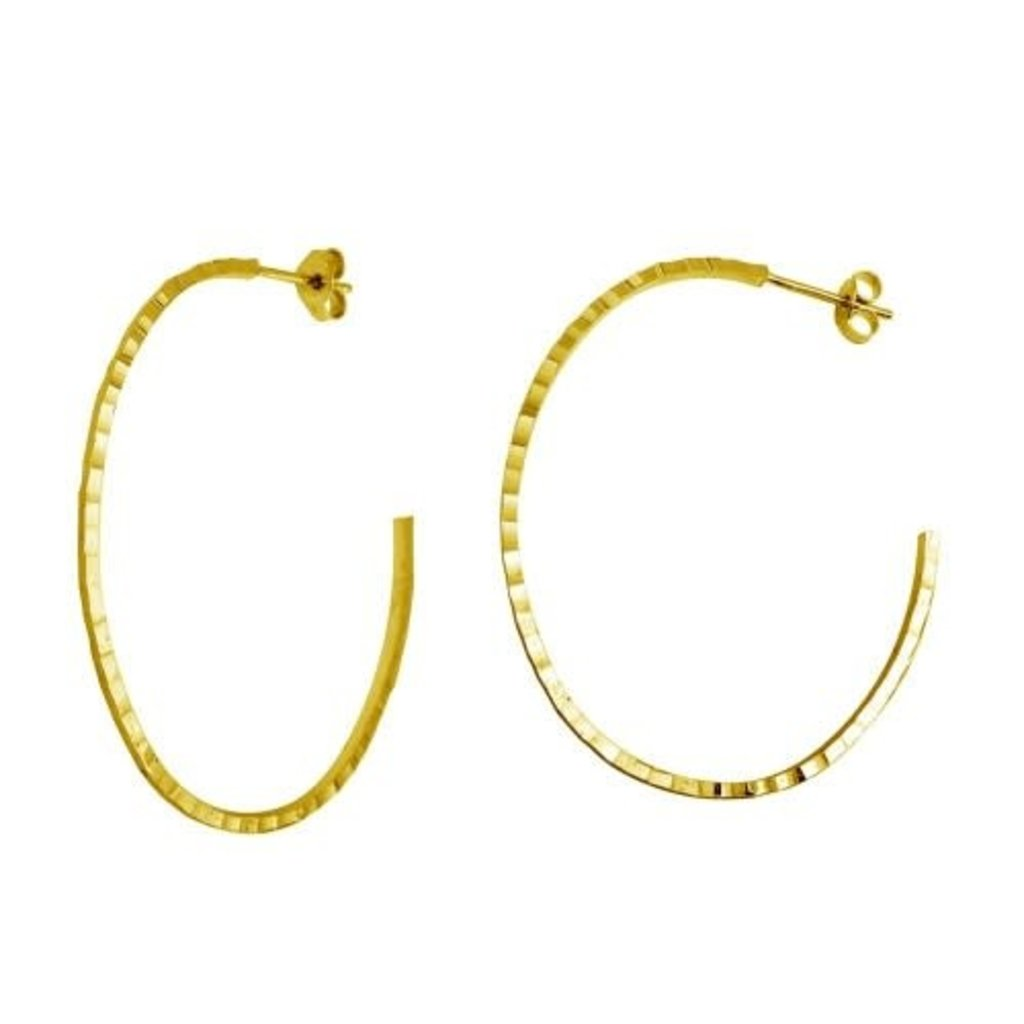 Sterling Gold Plated Hammered Half Hoop