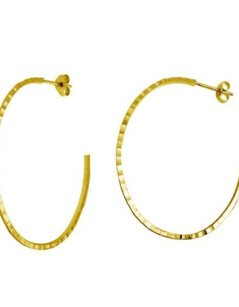 Qualita In Argento Italian Sterling Gold Plated Hammered Half Hoop