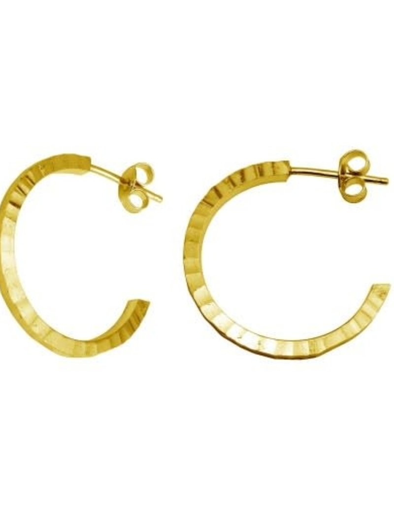 Qualita In Argento Italian Sterling Silver Gold Plated Small Hammered Half Hoops