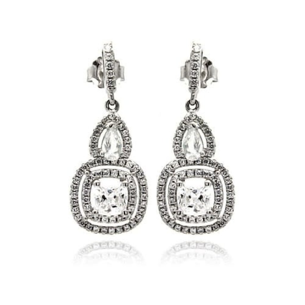 Sterling Rhodium Plated Pave Teardop & Square CZ Dangle Earrings