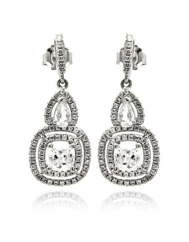 Qualita In Argento Italian Sterling Rhodium Plated Pave Teardop & Square CZ Dangle Earrings