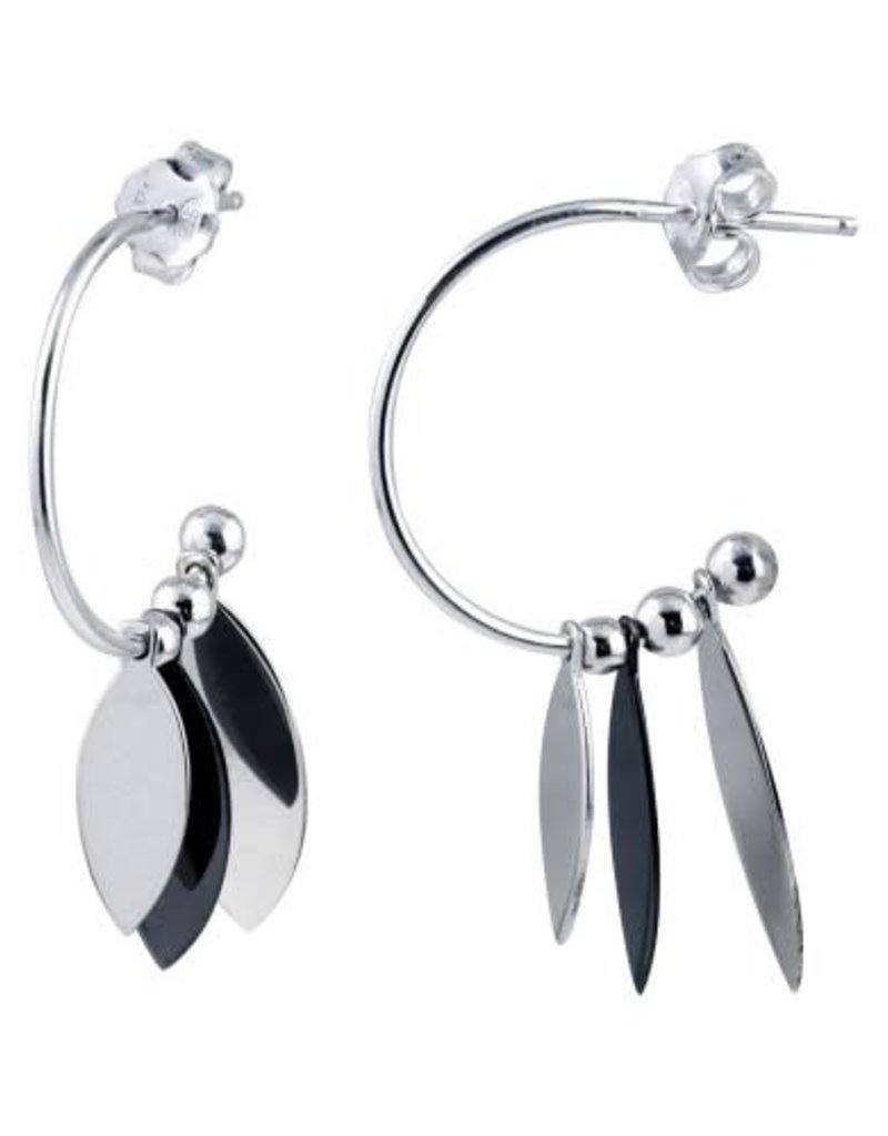 Qualita In Argento Italian Sterling Silver Layered Feather Hoop Earring