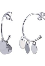 Qualita In Argento Italian Sterling Silver 3 Circle Bead Hoop Earring