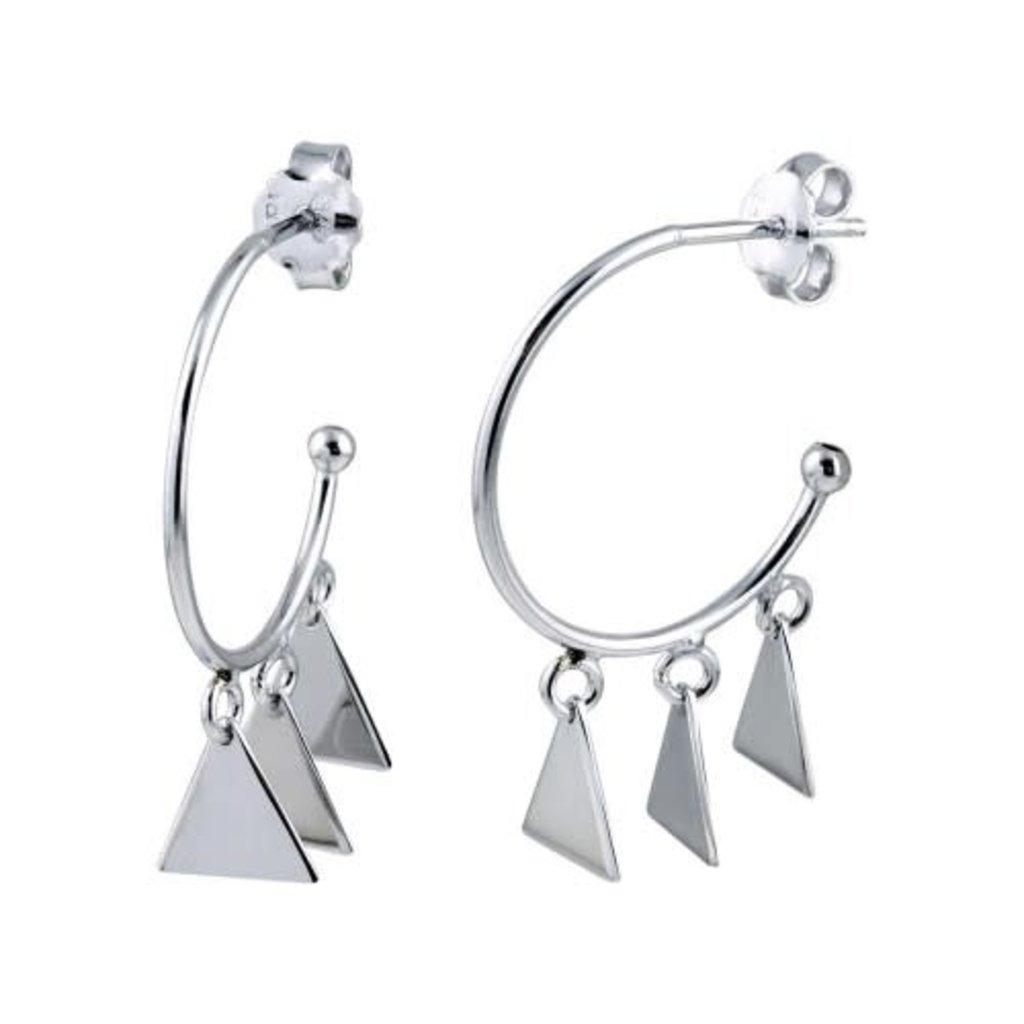 Sterling Silver 3 Triangle Bead Hoop Earring