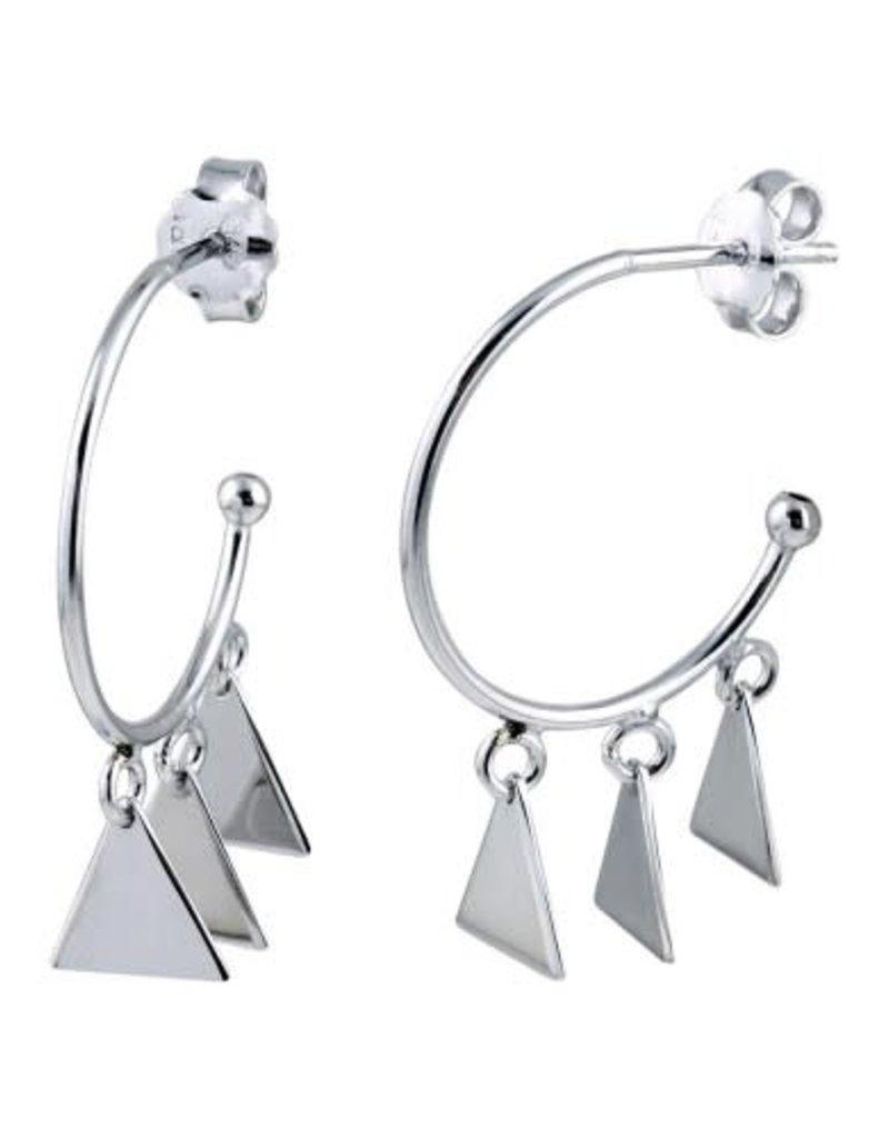 Qualita In Argento Italian Sterling Silver 3 Triangle Bead Hoop Earring